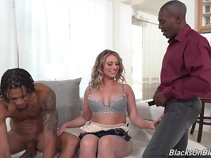 Sexy Kayley Gunner gets to bang with two black guys to the fore same time