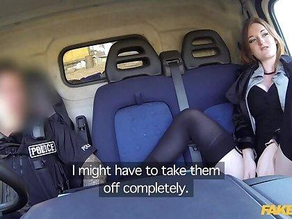 Hot ginger gets fucked respecting cops van