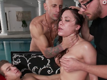 Insatiable slut on Christmas gets gangbanged on the couch