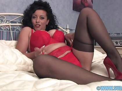 Busty mature Danica Collins takes off her panties just about masturbate