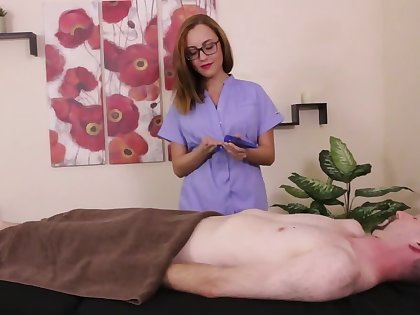 Nerdy masseuse beside red panties gives get under one's restrained man a handjob