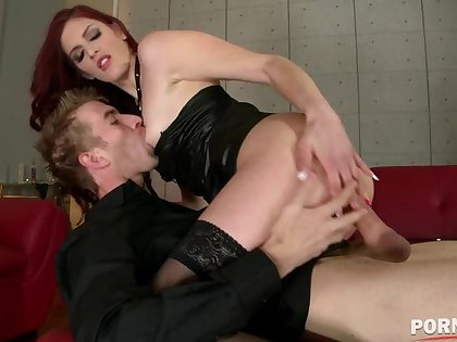 Dominatrix Mira Sunset spanks submissive defy before he bangs that Redhead's pink GP1020