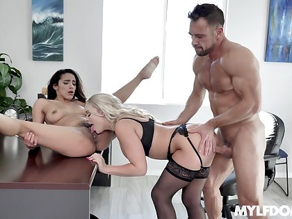 MILF joins step daughter in intriguing threesome