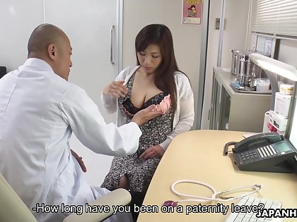 Asian breastfeeding mammy Satomi Katayama gives a blowjob to several cherry boys