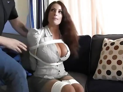 Buxomy housewife gets immensely crazy instantly she gets corded up and left on the floor