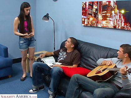 Goody-goody Mina Lee is fucked with an increment of kjizzed by several horny guys