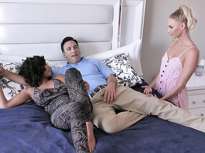 Ebony with big tits, insane cock sharing porn with her best friend