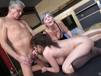 Old man goes nasty on his busty niece's cunt correspond with with his old wife