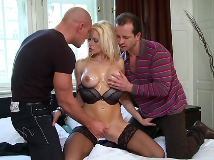 Premium blonde low-class by a pair of horny stallions with big dicks