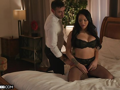 Passionate fucking connected with blindfolded MJ Fresh in lingerie. HD